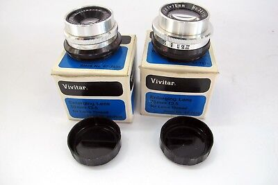 2 Vintage Vivitar Enlarging Lens 50mm and 75mm F3.5 with Leica Thread NEW NOS