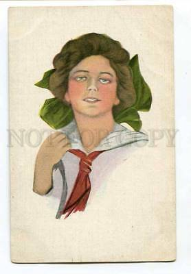3040760 Lady w/ Green Bow by BOILEAU At Polyphot FINNISH RARE