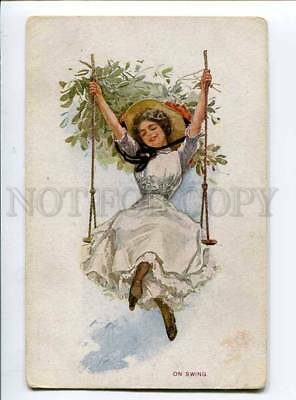 3043151 Lady on Swing by Harrison FISHER vintage FINNISH RARE