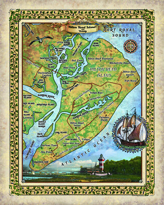 hilton head, hilton head map, coastal art, hilton head gifts, hilton head art