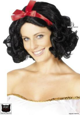 Deluxe Black Fairytale Snow White Short & Wavy Wig With Red Bow Fancy Dress New