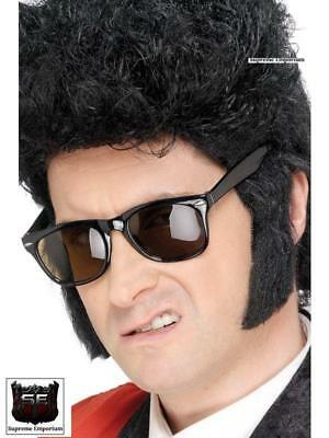 Mens Black Teddy Boy Sideburns 50s Greaser Adults Mens Fancy Dress Accessory