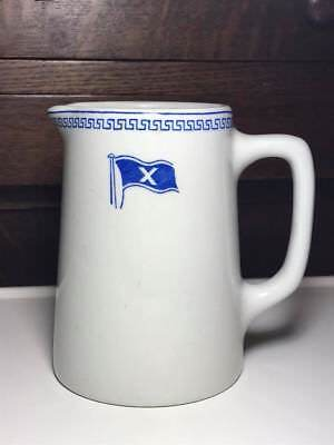 "Vintage Maddock Vitrified hotel ware cream pitcher ""Scottish Flag"""