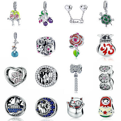 VOROCO Various Kinds Of 925 Sterling Silver Charms Large Hole Fit  Snake Chain