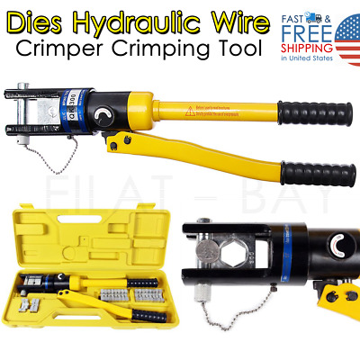 16 Ton 11 Dies Hydraulic Wire Crimper Crimping Tool Battery Cable Lug Terminal