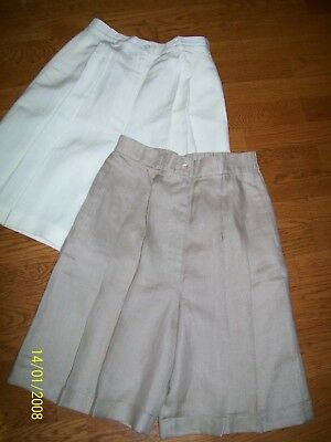 Vintage High Waist Linen Shorts Size 8 Pleated Front Cuffed Hem  2Pair Tan&white