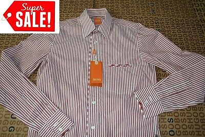 New Hugo Boss Mens Casual Red Striped Cotton Jeans Suit Top Shirt Extra Small Xs