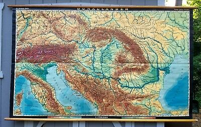 Vintage SE Europe roll down map Italy Hungary Austria Donaulander etc HUGE map