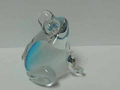 Clear Glass Frog Paper Weight Blue and White Inside