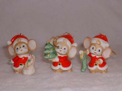 Vintage Homco 3 Piece Set Christmas Mice Ornaments #5252 Made In Taiwan Orig Box