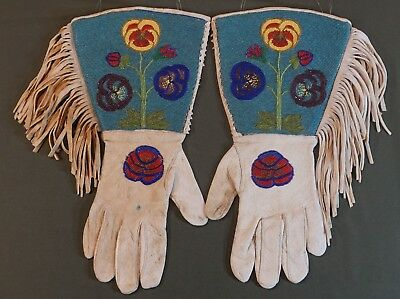 Early 1900 Native American Plateau Umatilla Cayuse Fully Beaded Gauntlet Gloves