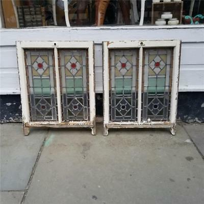 Pair Of Antique Stained Glass Framed Windows From A Great Estate - #6022