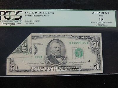 1985 Federal Reserve Note Frn $50 Fifty Dollars Fr.2122-D Error Printed Foldover
