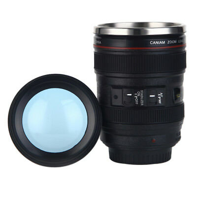 Camera Lens Cup 24-105 Coffee Tea Mug Stainless Steel Thermos & Lens Lid