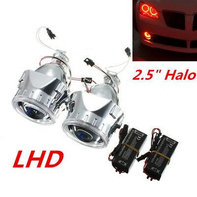 """2.5"""" HID Bi-Xenon Projector Lens Headlight Red Angel Eye Halo Ring for H1 H4 H7"""