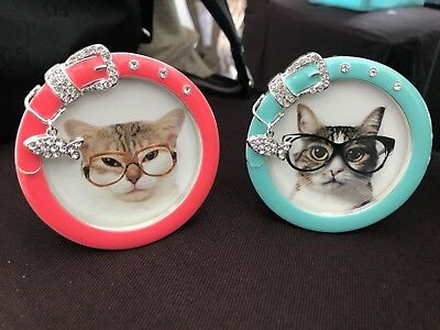 Lot of 2 Cat Collar Picture Frame by Twos Company 3x3