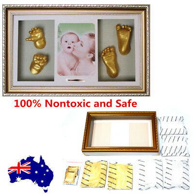 3D Plaster Baby Hand&Foot Print Picture Frame Keepsake Decor Casting DIY Kit OZ