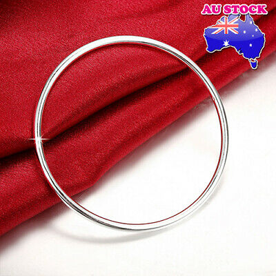 Wholesale 925 Sterling Silver Filled Layered Classic 3mm Solid Bangle Bracelet