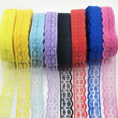 Beautiful embroidered lace ribbon unilateral 10-300 yards 22Colors free shipping