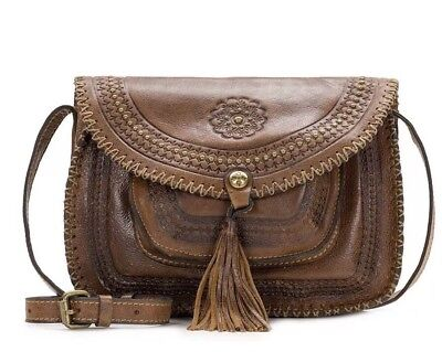 2cd5f525dc NWT Patricia Nash Cognac Distressed Vintage Leather Beaumont Flap Crossbody   199