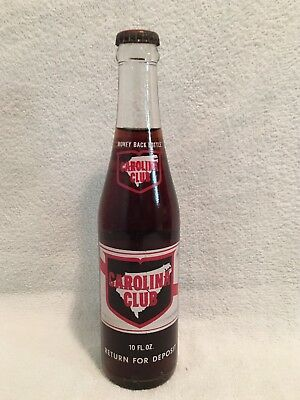 FULL 10oz CAROLINA CLUB COLA ACL SODA BOTTLE (PEPSI-COLA?)
