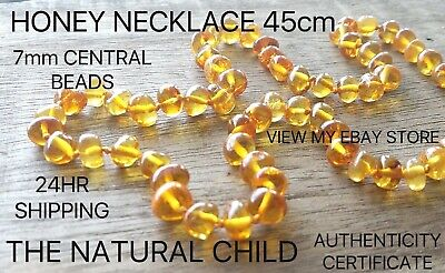BALTIC AMBER ADULT NECKLACE 45cm - HONEY - Jewellery Beads + FREE POST