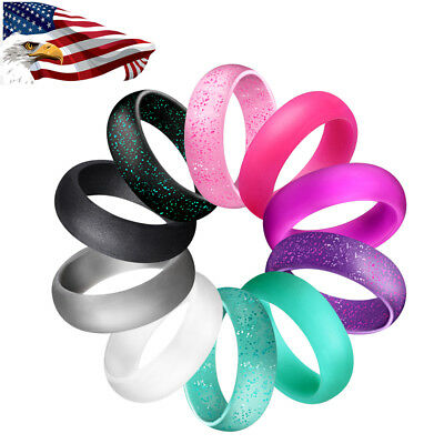 Womens Silicone Wedding Ring Engagement Wedding Band Rubber Workout Rings