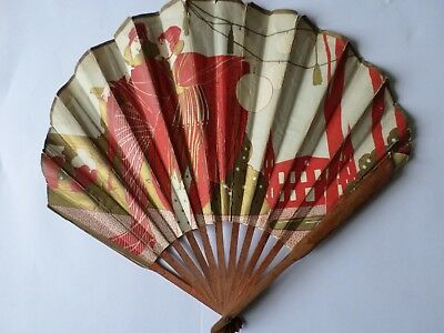 Art Deco paper hand fan Hotel Victoria and Edouard VII rooms possibly Parisienne