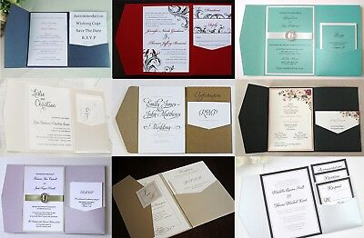 WEDDING INVITATION POCKETFOLD & ENVELOPE POCKET FOLD INVITATIONS Choose 16 Color