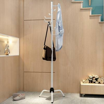 8 Hooks Coat Clothes Rack Umbrella Stand Tree Style Hanger Hook Steel WHITE
