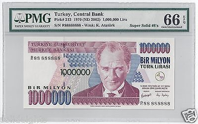 2002 TURKEY 1000000 LIRA  #R88 888888  PMG-66 GEM UNCIRCULATED  SUPER SOLID 8's