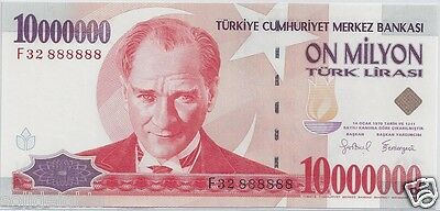 Turkey 10000000 Lira 7.ems Fancy Solid Serial # 888888 Unc 10 Million Note