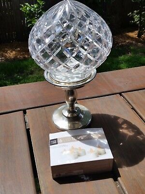 Vintage Crystal HAND CUT CRYSTAL Lamp Light Shade with METAL stand