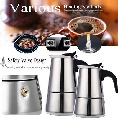 9/12 Cup Stainless Steel Filter Espresso Coffee Maker Stove Top Moka Coffee Pot