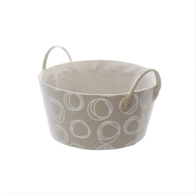 Fabric Hamper Basket Round Pattern Beige (30Dx15cmH)
