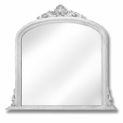 Antique White Over Mantle Mirror - Can Be Put On A Wall Of Your Choice.