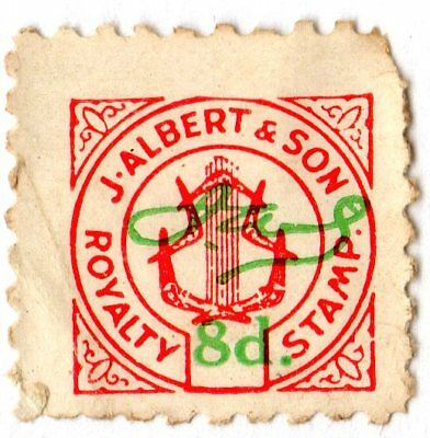 J Albert & Son 8d (eight pence #2) royalty tax revenue stamp - Pianola roll