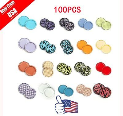 """100 1"""" inch Flattened Bottle Cap Flat Linerless Double Sided Paint For Crafts BT"""