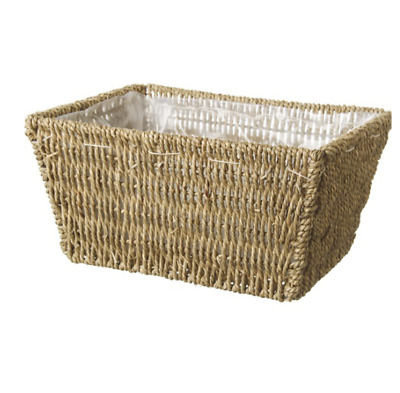 Seagrass Tray Rectangle (28x20x14cmH) Basket Hamper with Plastic Liner
