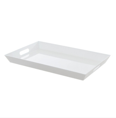 White Plastic Rectangle Tray with Handles (45.5 x 30.5 x 4.2cmH)