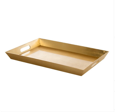 Gold Plastic Rectangle Tray with Handles (45.5 x 30.5 x 4.2cmH)