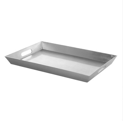 Silver Plastic Rectangle Tray with Handles (45.5 x 30.5 x 4.2cmH)