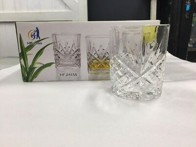 Vintage Style Whiskey Glasses Set 6x Boxed Scotch Crystal Glass Lowball Tumbler