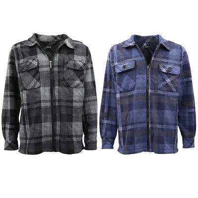 New Mens Long Sleeve Flannelette Shirt Premium Check Flannel Polar Fleece Jacket