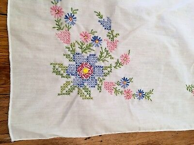 "Vintage Tablecloth White Handmade Floral Cross Stitch 102""x60"" Pink Blue Flowers"
