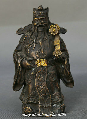 """5.5"""" Collect Old Chinese Bronze Taoism Mammon Money God Hold Ruyi Stand Statue"""