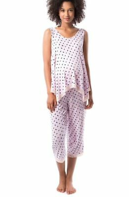 Maternity Pip & Vine Pajama Sleep Set Floral Tank and Capri Size L, $58