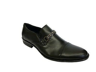 Mens Italian Smart Black Slip On Shoes Wedding Work Casual Formal Party Size