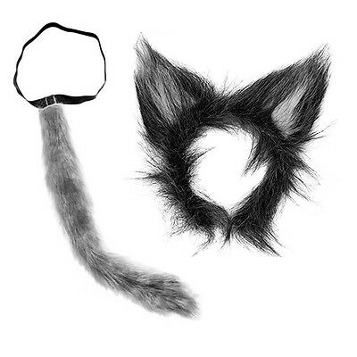 Wolf Ears And Tail Set Grey Big Bad Wolf Werewolf Wolfman Costume Dog Animal
