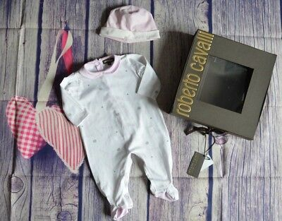 Roberto Cavalli Baby Girls Designer Clothes Hat Coverall Suit 6 Months Excellent